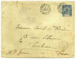"INDOCHINE - E. P. OBL. "" CORR. D.ARMÉES / SAIGON LE 25/1/1896 "" & "" CORR. D´ARM / LIG. N PAQ. FR. N°10 LE 26/1/96 "" - B - Indochina (1889-1945)"