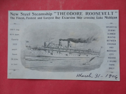 Private  Mailing Card- New Steel Steamship  Theodore Roosevelt  UDB Not Mailed  Ref  963 - Steamers