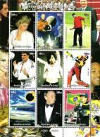 1999 Guinee Guinea Millennium Celebration 9v PERF Sheet Diana Space Golf Cricket F1 Racing Cinema - Sonstige