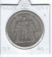 FRANCE , 5 Francs , SILVER COIN ,  1849 A  HERCULE - J. 5 Francs