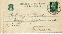 1934 CARTOLINA CON ANNULLO SIENA - Storia Postale