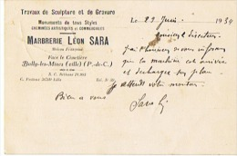 TRAVAUX De SCULTURE Et De GRAVURE MARBRERIE LEON SARA à BULLY Les MINES (Pde C) - Altri