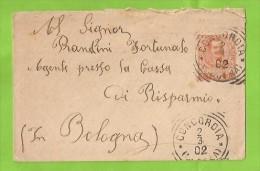 STORIA POSTALE PICCOLA BUSTA DA CONCORDIA SULLA SECCHIA MODENA PER BOLOGNA DEL 2-3-1902 - 1900-44 Vittorio Emanuele III