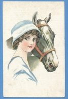 Cavalli E Donne  -  Original Vintage Postcard - Chevaux