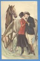 Cavalli E Innamorati  Illustratore  Grande - Original  Vintage Postcard - Chevaux