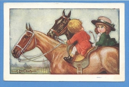 Cavalli E  Bambini  Illustratore  Corbella - Original  Vintage Postcard - Chevaux