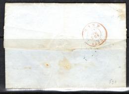 1853, Médaillon Sur Lettre De Bruxelles Vers Gand - 1851-1857 Médaillons (6/8)