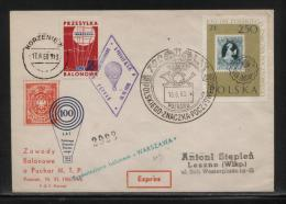 POLAND 1960 100 YEARS POLISH STAMPS ON STAMPS WARSZAWA BALLOON FLOWN COVER BALLOONS EAGLE POSTHORN - Airmail