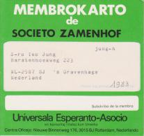 (AKE 106) Esperanto Card About Zamenhof Society / Societo Zamenhof 1983 - Esperanto