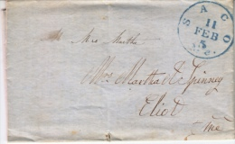 U.S. Stampless Folded  Letter  1850  SACO, ME. - Covers & Documents