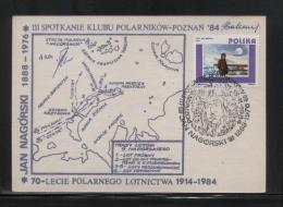 POLAND 1984 3RD POLAR EXPLORERS PHILATELISTS MEETING POZNAN COMM SIGNED COVER JAN NAGORSKI MAP ARCTIC POLAR FLIGHT 70TH - Filatelia Polare