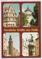 Halle ,  Grasweghaus - Wasserturm - Leipziger Turm - Eselsbrunnen Am Alten Markt , Mehrbildkarte - Halle (Saale)