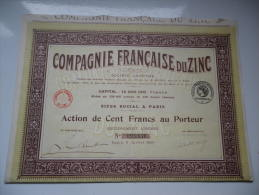 FRANCAISE DU ZINC (capital 12,9 Millions) 1920 - Non Classés