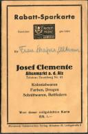 Germany Munchen Josef Clemente Altenmarkt Kolonialwaren Rabatt Marken SparKarte - Publicités