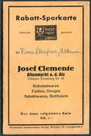 Germany Munchen Josef Clemente Altenmarkt Kolonialwaren Rabatt Marken SparKarte - Advertising