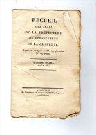 Table Desrecueil Des Actes De La Préfecture De La CHARENTE , 1814 , 7  Pages ,  Frais Fr : 1.60€ - Décrets & Lois