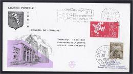 SIGNATURE JOUR DE L´ADOPTION DE LA CHARTE SOCIALE EUROPEENNE 18.10.1961 TURIN TORINO ITALIE ITALIA - 1961-70: Storia Postale
