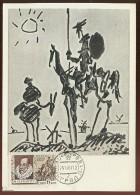 CARTE MAXIMUM CM Card USSR RUSSIA Literature Spain Writer Cervantes Don Quichotte Horse Painting Picasso - Maximumkaarten