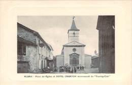 """81 - Alban - Place De L'Eglise Et Hotel Carayon, Recommandé Du """"Touring-Club"""" - Alban"""