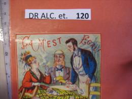1 ETIQUETTE XIX Ième Litho Parafine  CA M'EST EGAL  -  BORD ROUGE - C1870  Femme Fume , 2 Chiens  , Lorgnet LABel - Nice Old Times