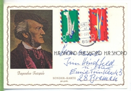 Bayreuther Festspiele, Sonder-Karte Um 1960/1970 Verlag:  POSTKARTE ,  Mit Frankatur, Mit Stempel  Bayreuth  22.8.69 Erh - Bayreuth