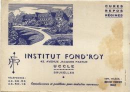 Uccle - Ukkel : Buvard -institut Fond'Roy ( Format  20 X 14 ) - Blotters
