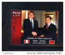 RT)2009,PERU, FREE TRADE TREATY PERU-CHINA, PRESIDENTS,FLAGS,MNH.- - Peru