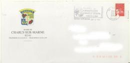 Flamme Charly Sur Marne 02 Sur Env De La Ville De Charly - Vin Vigne Champagne - Marcofilia (sobres)
