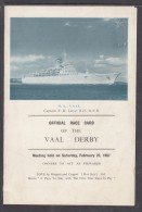 """South Africa 1967 S.A.Vaal, """"OFFICIAL RACE CARD OF THE VAAL DERBY"""" - Boats"""