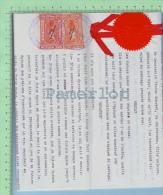 Fiscaux QL-75, QL-82 Sur Document Mariage ( 3 Feuille 8.5 / 14  1921+ Sceau Et Ruban Du N..) Timbre Taxe Quebec Canada - Fiscaux