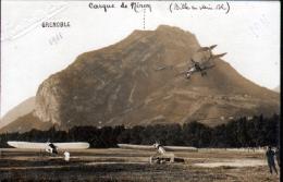 38 - GRENOBLE - CARTE PHOTO 1911(PHOTO MARTINOTTO FRERES) CASQUE DE NERON ( BILLE EN PLEIN VOL)  AVIATION, AVIONS AU SOL - Grenoble