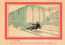 Unique Carte Thème Train Chemin De Fer Ce Qu´il Est Interdit De Faire Pour Un Agent De La SNCF - Ferrovie
