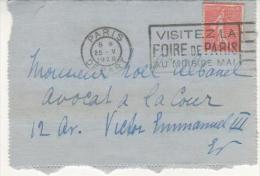 SEMEUSE SUR PLI DE PARIS DEPART DU 25/5/28 - FOIRE DE PARIS - Marcophilie (Lettres)