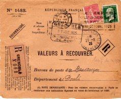 Magnifique Devant De Lettre Recommandé De Grenoble Du 21/8/1925 S/TP 65c Se + 15c Pasteur - 1921-1960: Moderne