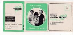 """1971 Calendrier De Poche """"Institut Européen Tecnic""""  / Métiers,enseignement - Formato Piccolo : 1971-80"""
