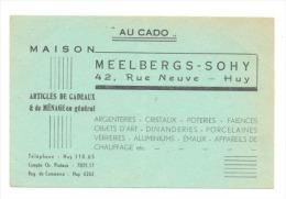 """HUY - Carte De Visite """"Au Cado"""" - Maison Meelbergs-Sohy   (hel) - Cartes De Visite"""