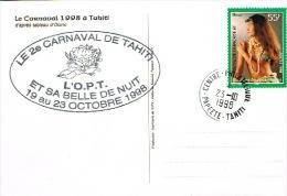 Polynesie Francaise EFO Cachet Commemoratif Carnaval Tahiti Opt Vahine 23/10/1998  TB - Non Classés