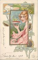 7174 - Art Nouveau  A Midi Femme  Paysage, Chat Et Tournesols Signée F.G. - Illustrateurs & Photographes