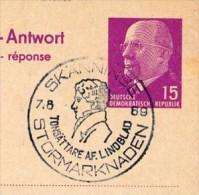 Sost. LINDBLAD SKÄNNINGE Schweden 1969  DDR P 74 A Antwort-Postkarte - Musik