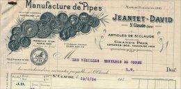 """Facture  Illustrée De La Manufacture De Pipes """" Jeantet David """" à Saint Claude En 1934 - France"""