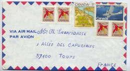 1982-Lettre Du Canada(Québec) Pour La France(Tours)--timbres Fleur,avion,lac Niagara)-marque Jaune Phosphorescente 21 U - 1952-.... Règne D'Elizabeth II