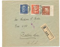 1932 St Gothard- Serie Auf Rek-Brief Nach USA Gelaufen (Ankunftstempel Violett Boston) - Briefe U. Dokumente