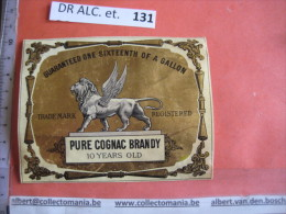 1  XIX Ième Etiquette PARAFINE D'OREE SuPERBE - BRANDY COGNAC - LION AILES WINGS  IMPR. ROMAIN & PALY  C1870 - Lions