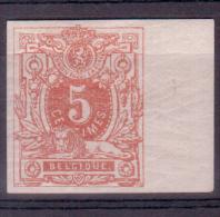 N°28, 5c Ocre Foncé Non Dentelé BDF, Avec Trace De Charnière - 1869-1883 Léopold II