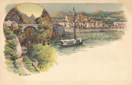 Souvenir De Menton. Vieille Ville Et Pont St Louis. Bon état - Menton