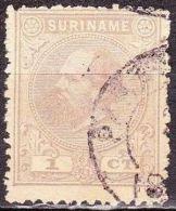 SURINAME 1873 Koning Willem III 1 Cent Lilagrijs Tanding 13½ X 13 1/4 NVPH 1 E - Suriname ... - 1975