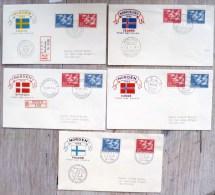 RARE 5X ENVELOPPE FDC + timbre serie complete NORDEN islande norvege finlande danmark suede timbre emission 30-10-1956