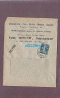 - 1912 - Cachet Postal De JOINVILLE ( Haute Marne ) - Quincaillerie Paul BOYER Successeur - Machines Agricoles, Verrerie - Marcophilie (Lettres)