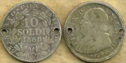 VATICAN PAPAL 10 SOLDI WREATH FRONT POPE PIUS IX BACK DATED 1868 AG SILVER YEAR23 KM1376 READ DESCRIPTION CAREFULLY !!! - Vatican