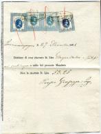 MARCHE DA BOLLO ITALIANE DI TRANSIZIONE SU DOCUMENTO FIORINI 0.02 0.03 0.04 REGNO VITTORIO EMANUELE II FISCALI ANNO 1868 - Steuermarken